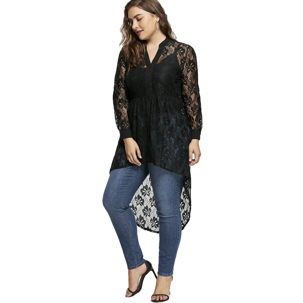 Wipalo Plus Size Lace Summer Women Top Long Sleeve V Neck High Low Hem  Black Shirt Tops 2019 Fall Fashion Blusas Femininas 5XL-in T-Shirts from  Women s ... 15f4094034ad