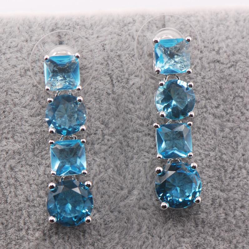 Created Aquamarine 925 Sterling Silver Earrings TE461
