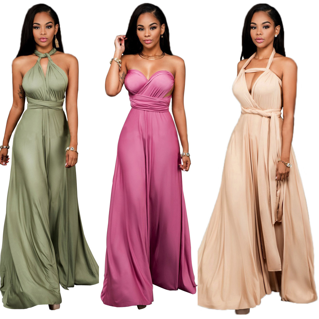 US $28.98 |Women evening long dress elegant Formal Maxi dress Multi Way  Wrap Convertible Infinity dresses Strapless Plus Size Vintage Dress-in  Dresses ...