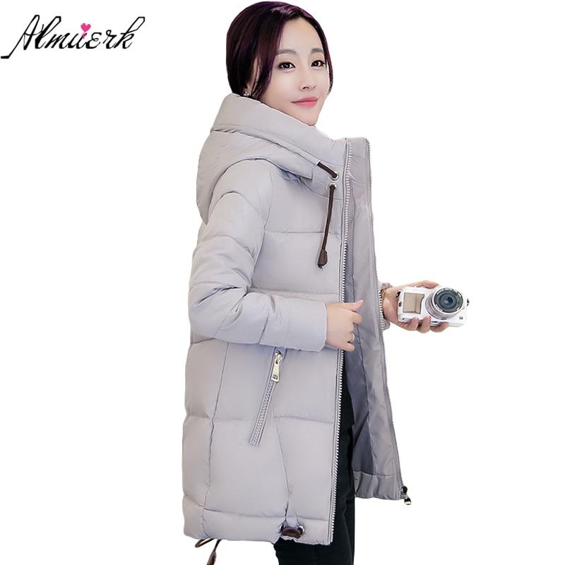 2017 New Winter Jacket Female Hooded Pure Color Warm Cotton Coat Women Medium Long Thick Parkas
