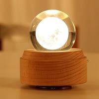 Wooden Music Box Moon Style Luminous Rotating 3D Crystal Night Light Musical Box for Kids Girls  Caja de musica luminosa HTQ99