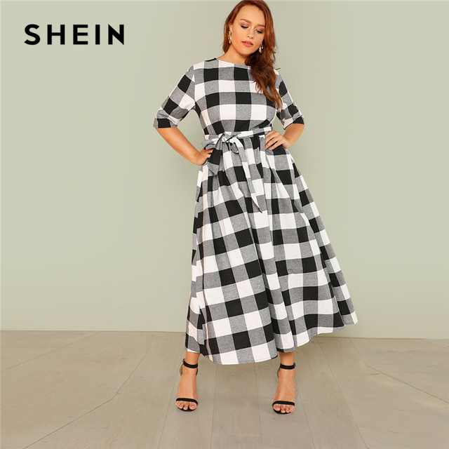 c12f4a786d SHEIN Self Belted Gingham Dress 2018 Summer Round Neck Half Sleeve Plaid  Retro Maxi Dress Women Plus Size Casual Dress