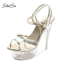 Silentsea сандалии Для женщин платформа для фигурок T Stage показывает обувь стильная обувь на высоком каблуке 14 см высокий каблук, прозрачные