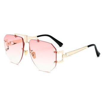 Polygon Sunglasses Women Brand Designer Rimless Fashion Sun Glasses for Men Metal Reflective Flat lens Female oculos