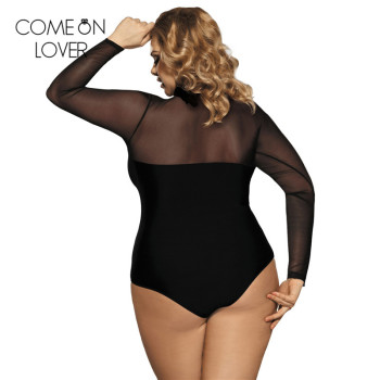 Comeonlover lace up bodysuit floral see through sexy women rompers plus size body top long sleeves slim mesh bodysuit ER80372 2