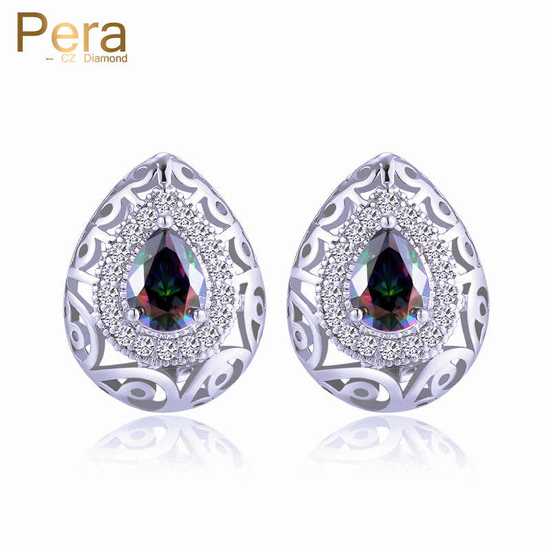 Pera White Gold Color Big Water Drop Multi Dark Blue Cubic Zirconia Crystal Indian Women Ear Stud Jewelry For Party E188