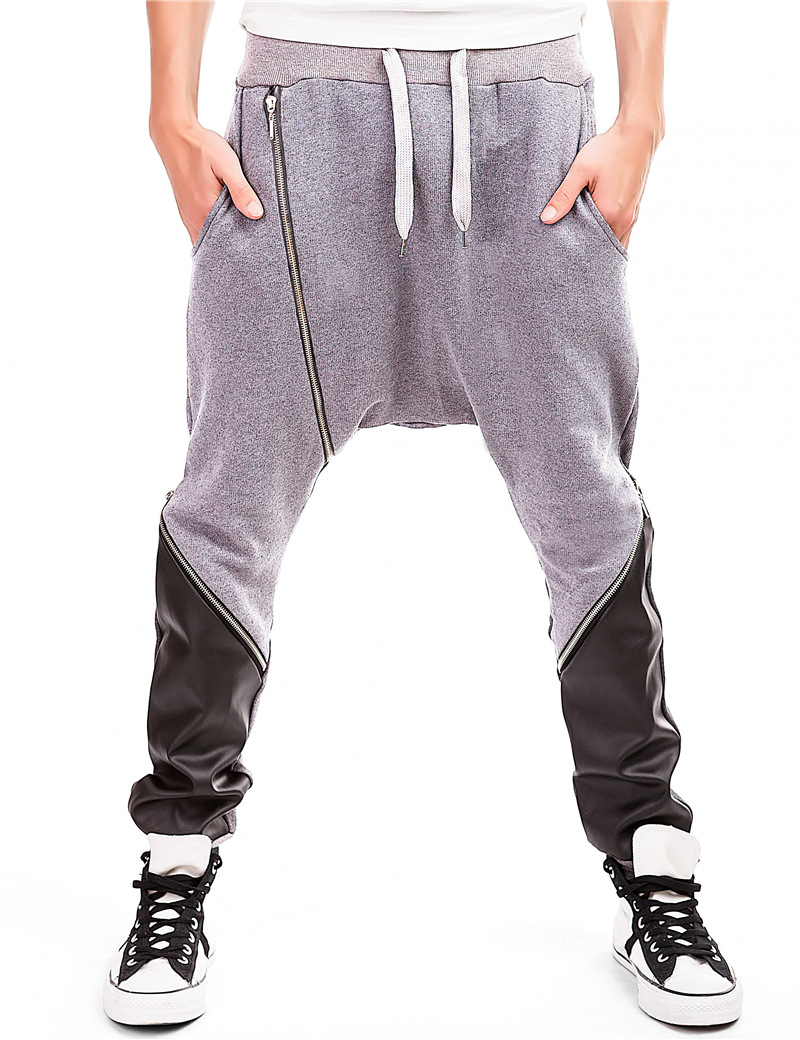 Streetwear Trousers Sweatpants Faux-Leather Joggers Swag Drawstring Drop-Crotch Male