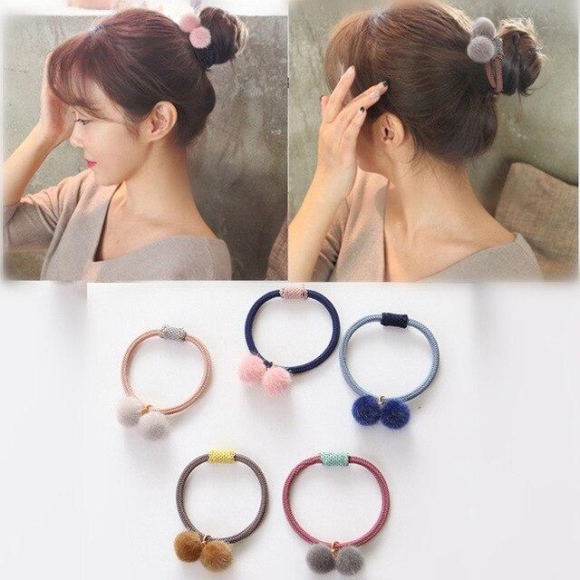 Cute Little Girls Pompom Hair Ties Double Pom Pom Elastic Hair Band Hair Ropes Meatballs Headband Commonly Tool Hair Accessories