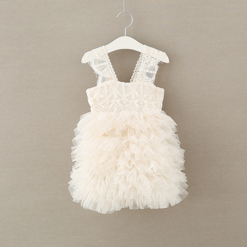 Princess Lace Tulle Cake Dress For Girls Beige Color Children Summer Tutu Holiday Dresses Western Baby