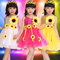 20pcs/lot Free Shipping 3 Colors Kids Dancing Dress Children Girls Summer Clothes with Sunflowers Stage Ballroom Dance Costumes