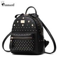 2016 Fashion Women MINI PU Leather Backpack Rivet Design Women S Backpacks Casual Ladies Bags Luxury