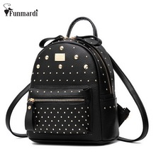 New Fashion Women MINI PU Leather Backpack Rivet design Women s Backpacks Casual Ladies Bags Luxury
