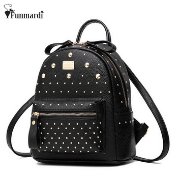 New Fashion Women MINI PU Leather Backpack Rivet design Women's Backpacks Casual Ladies Bags Luxury female leather bag WLHB1403 new college wind leisure backpack fashion ladies pu leather bags travel schoolbag drawstring backpacks