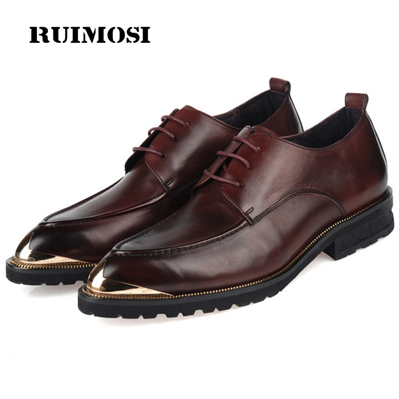 RUIMOSI Top Quality Flat Platform Formal Man Bridal Dress Shoes Genuine Leather Party Oxfords Round Toe Men's Footwear UH32