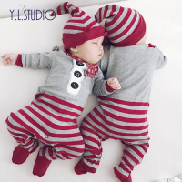 Baby Winter Overalls Boys Christmas Clothes Suit New Year's Costume Kids Foot Romper 2 Piece Suit Creepers for Newborns Clothes