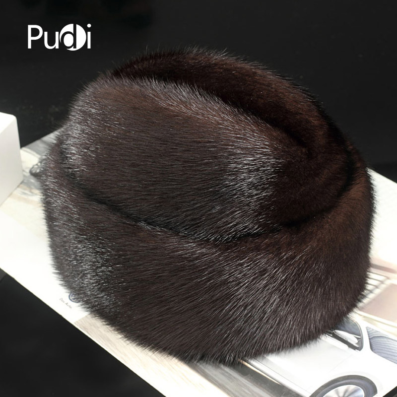 Pudi 170767 men mink fur hat New Fashion Men s Real Mink Fur Cap Winter Warm