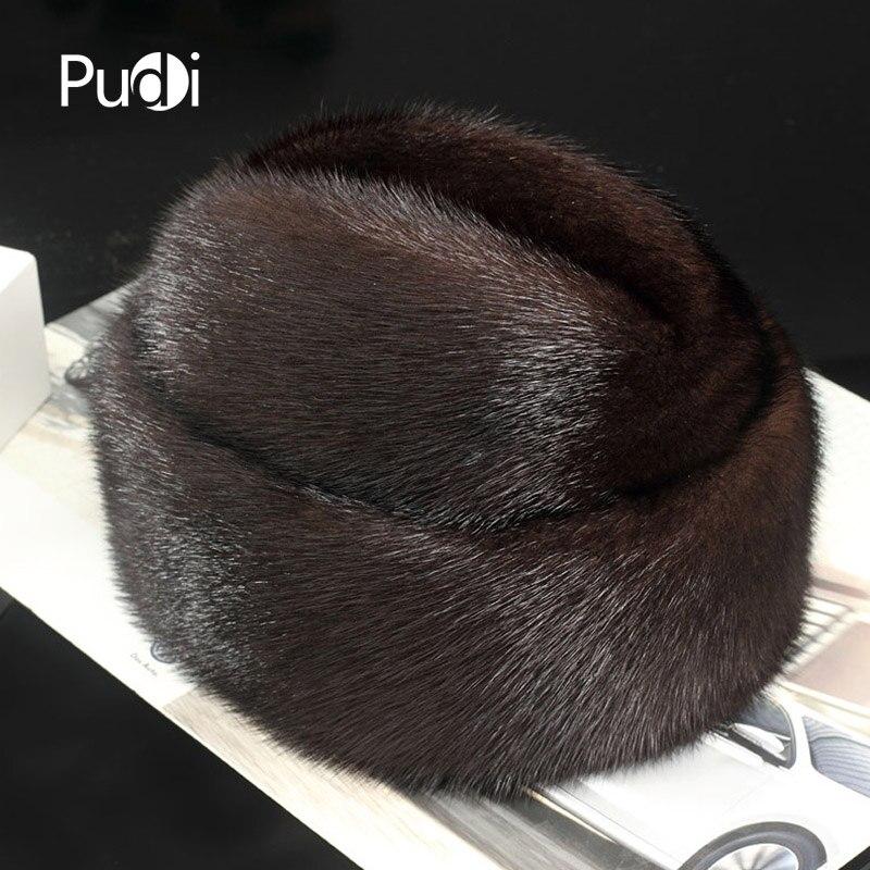 Pudi 170767 hommes chapeau de fourrure de vison Nouvelle Mode hommes Véritable Fourrure De Vison Chapeau Hiver Chaud Chapeau Haut De Forme Chapeau Bonnet béret