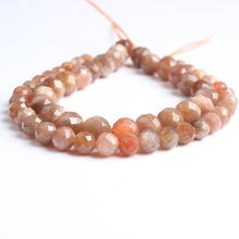LanLi  natural jewelry 4/6/8/10/12mm faceted sunstone loose Beads DIY men and women Bracelet Necklace anklet Accessories