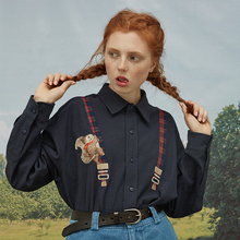 Весенняя Высококачественная модная дизайнерская женская хлопковая блузка с длинным рукавом и отложным воротником, женская Свободная рубашка, топы с рисунком белки в клетку