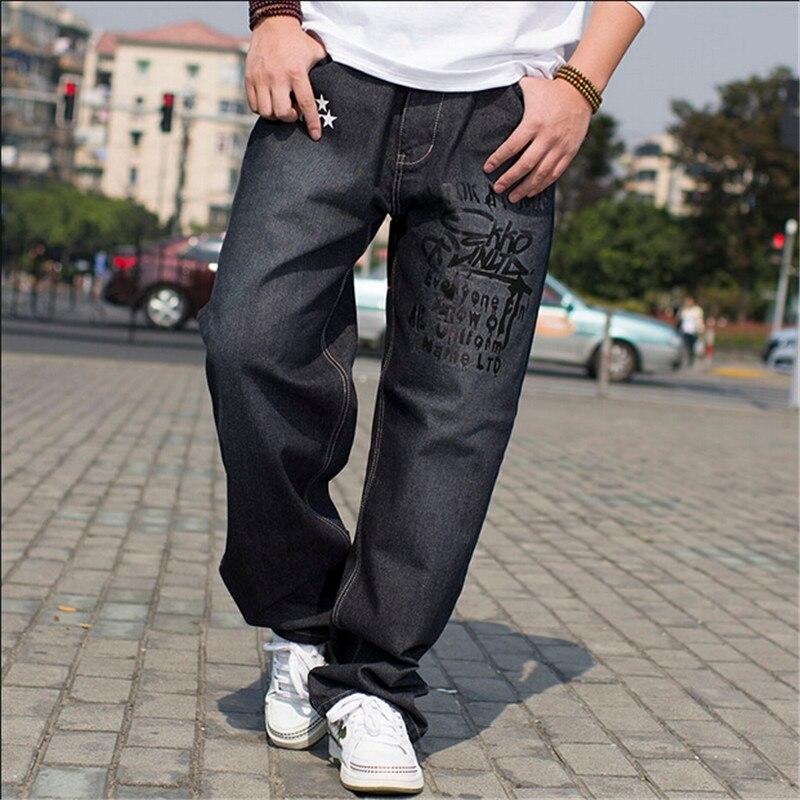 ФОТО Quality Denim Jean Cotton Mens Pocket HIP HOP Loose Baggy Pants Black Fashion Skateboard HipHop Hip Hop Size 30-46