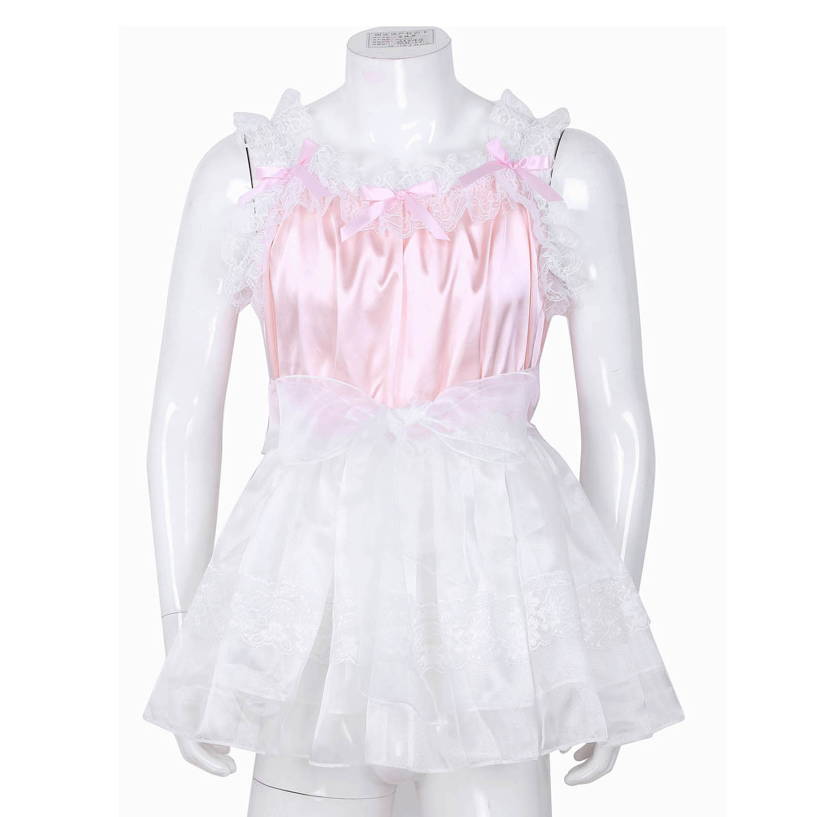Adult Mens Sissy Babydoll Crossdress Ruffled Lace Tulle Dress Gay Male Clubwear