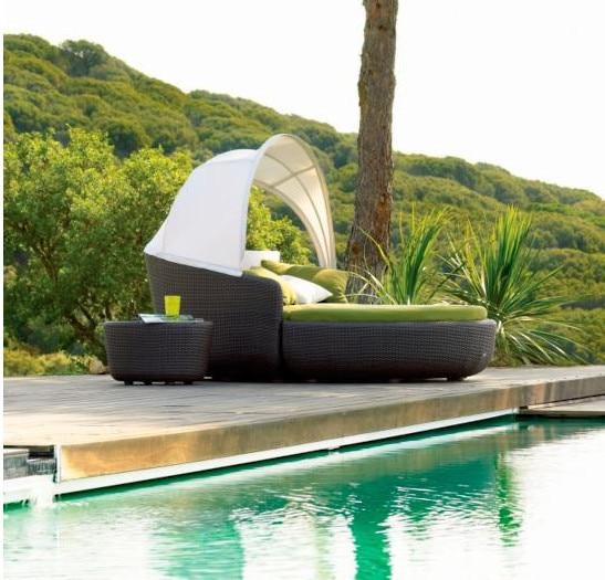 2017 Sigma muebles de jardín de mimbre día cama Silla de playa al ...