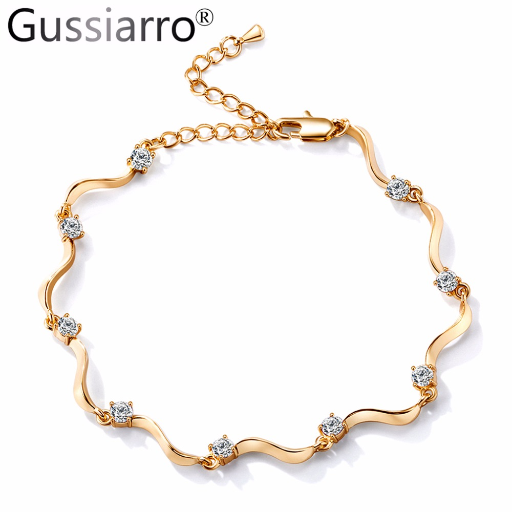 Gussiarro 2018 New Round Crystal Bracelets on leg the Anklets Female Barefoot Crochet Jewelry For Women Gold-Color Foot Chain