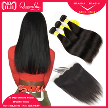 hot deal buy queenlike 3 4 bundles brazilian hair weave bundles with closure non remy straight human hair lace frontal closure with bundles