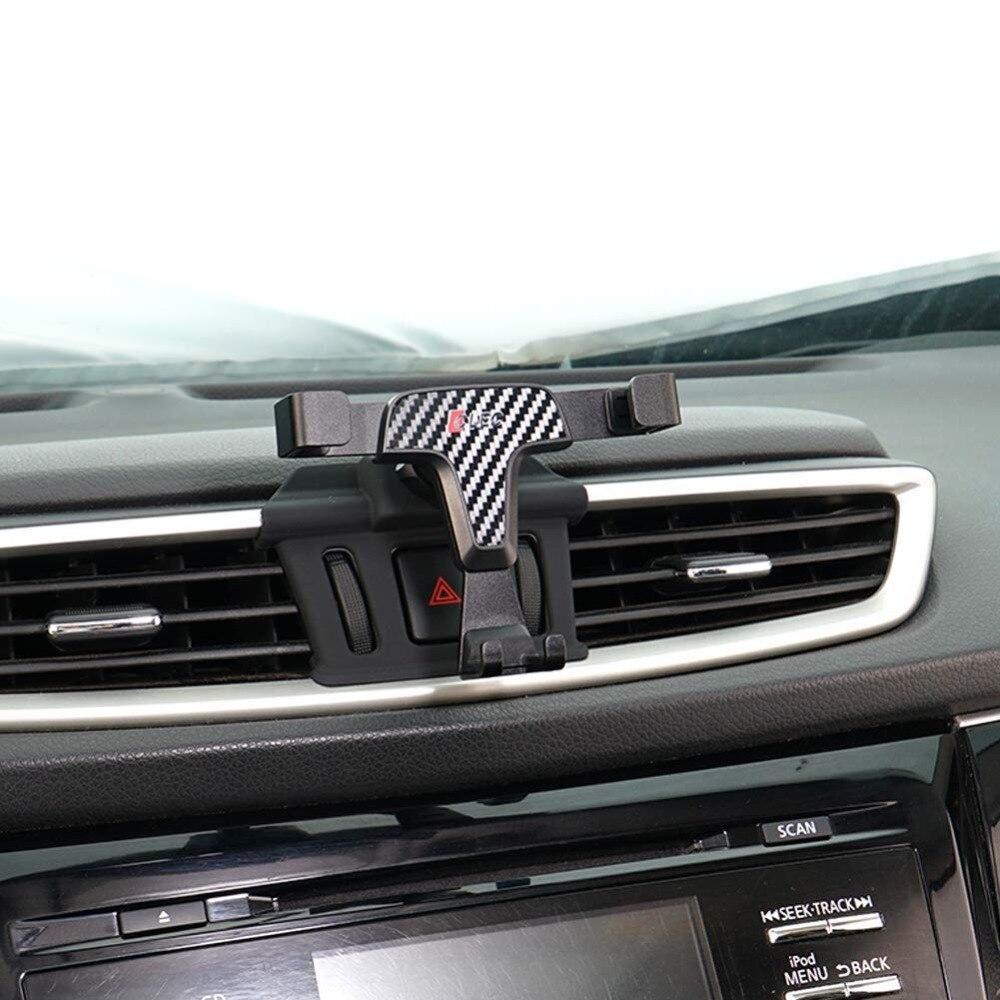 Fibra de carbono, titular del teléfono del coche para Nissan Qashqai J11 2016 2017 panel de ventilación de aire del teléfono del coche soporte para Qashqai 2018, 2019