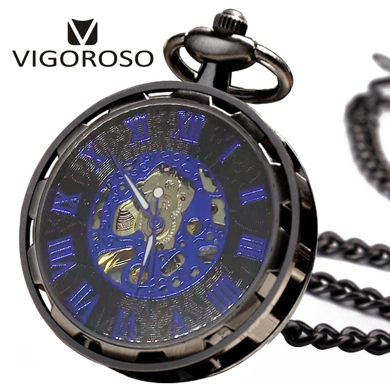 New Steampunk Transparent Skeleton Hand Wind Mechanical FOB Pocket Watch Analog Open Face Hand Wind Pendant Chain With Gifts Box