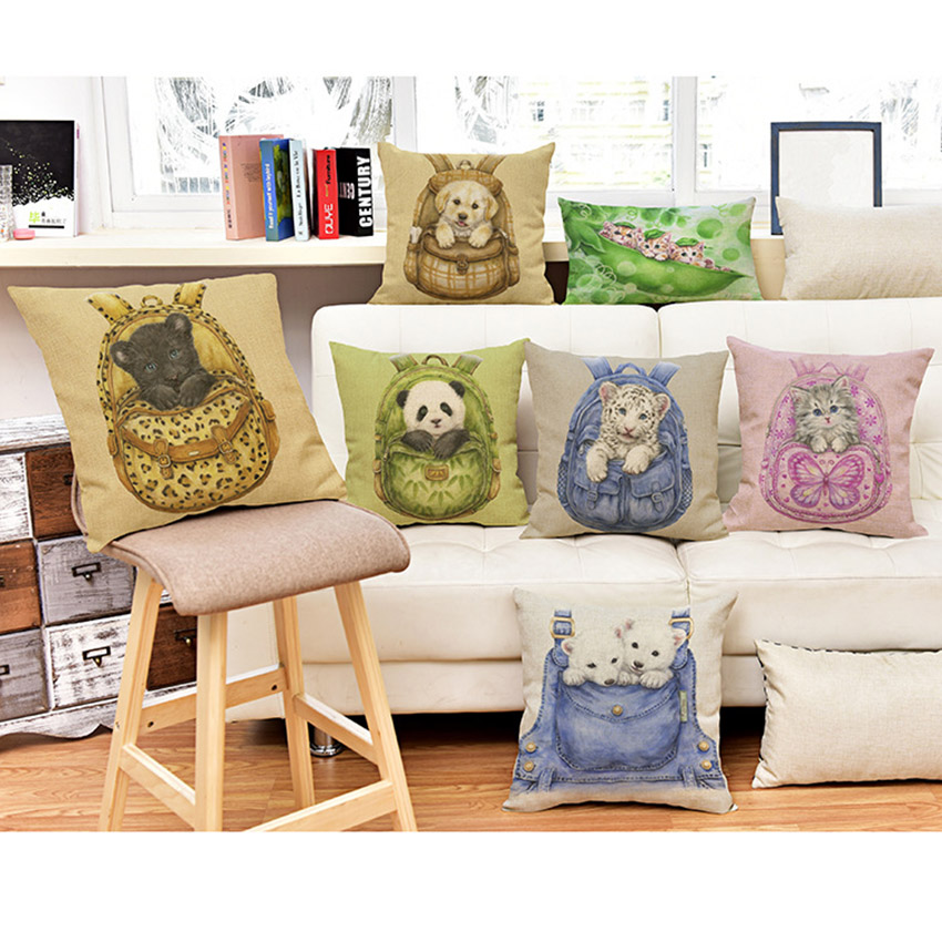 Pocket Baby Tiger Panda Money Dog Sofa Throw Pillows Home Decor Cotton Linen Square Rectangle Decative Cushion Cover Pillow Case