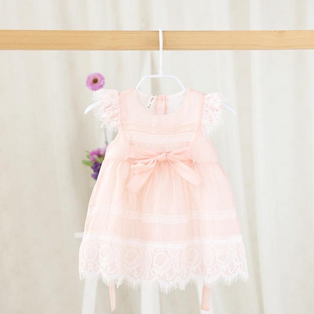 2016 verano nueva marca vestidos vestido de Encaje tutu vestido de Bebé Vestido de la Princesa dulce para el bebé recién nacido