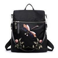 4 Wzory Mody Plecak Kobiety Oxford Torby Szkolne dla Nastoletnich Dziewcząt Dragonfly Haftem Praktyczne Funkcjonalne Podróży Plecak