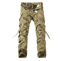 2015 New Men Cargo Pants Army Green Grey Black Big Pockets Decoration Casual Easy Wash Male