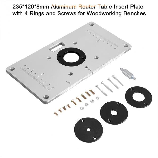 Aluminum alloy router table insert plate woodworking benches w 4pcs aluminum alloy router table insert plate woodworking benches w 4pcs router insert rings wood router greentooth Choice Image