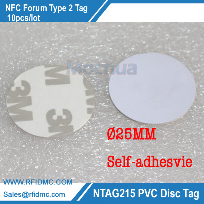 NFC Tag NTAG215 Disc Tag PVC with Self-adhesive for Tagmo