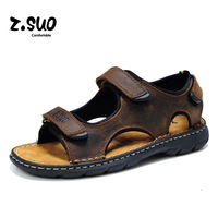Z Suo Brand 2017 Summer Cool Genuine Leather Men Sandals High Quality Ankle Wrap Sandals Hook