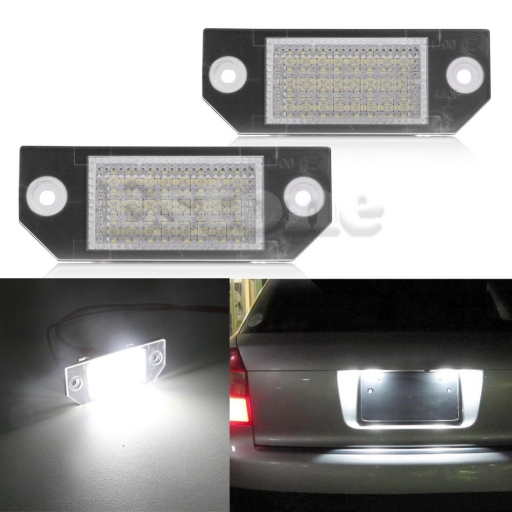 2Pcs Car LED License Number Plate Light Lamp For Ford Focus 2 C-Max White Car Light Source 2pcs car led license number plate light lamp 6w 12v 24 led white light for ford focus 2 c max