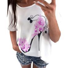 Yfashion High-heeled Shoes Print T-shirt Women Applique Loose-fitting Floral Heels Short Sleeve T Shirts Tee Women Female цена в Москве и Питере