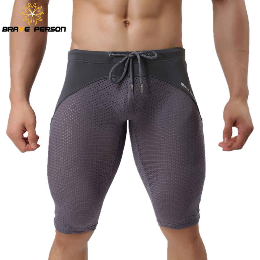 BRAVE PERSON Summer Style Shorts Breathable Mesh Men Tight Beach Shorts Men Multifunction Knee Length Board Shorts Beach Wear