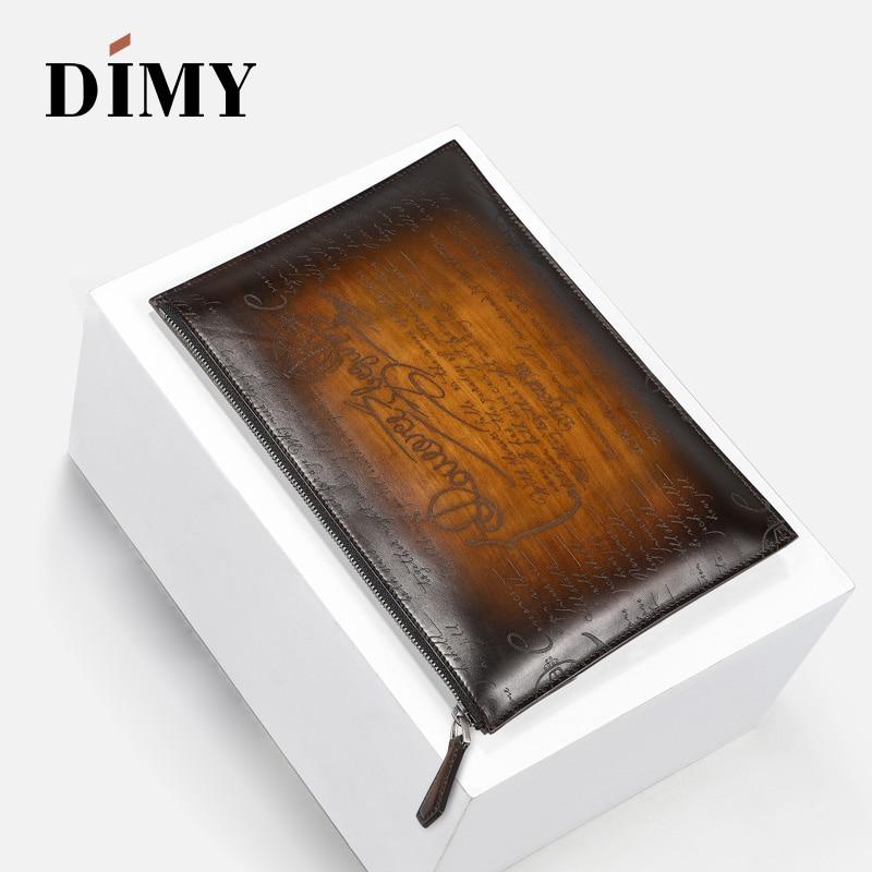 DIMY Patina Mens Clutch Bags Genuine Leather Cowhide Handbag Envelope A4 Purse bolsa Business sac a main malas de senhora