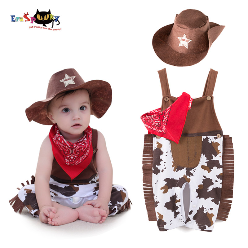 Eraspooky Newborn Romper Photography Costume for Baby Boy Cowboy Bodysuit Baby Halloween Cosplay Baby Toddler Clothing for Kids