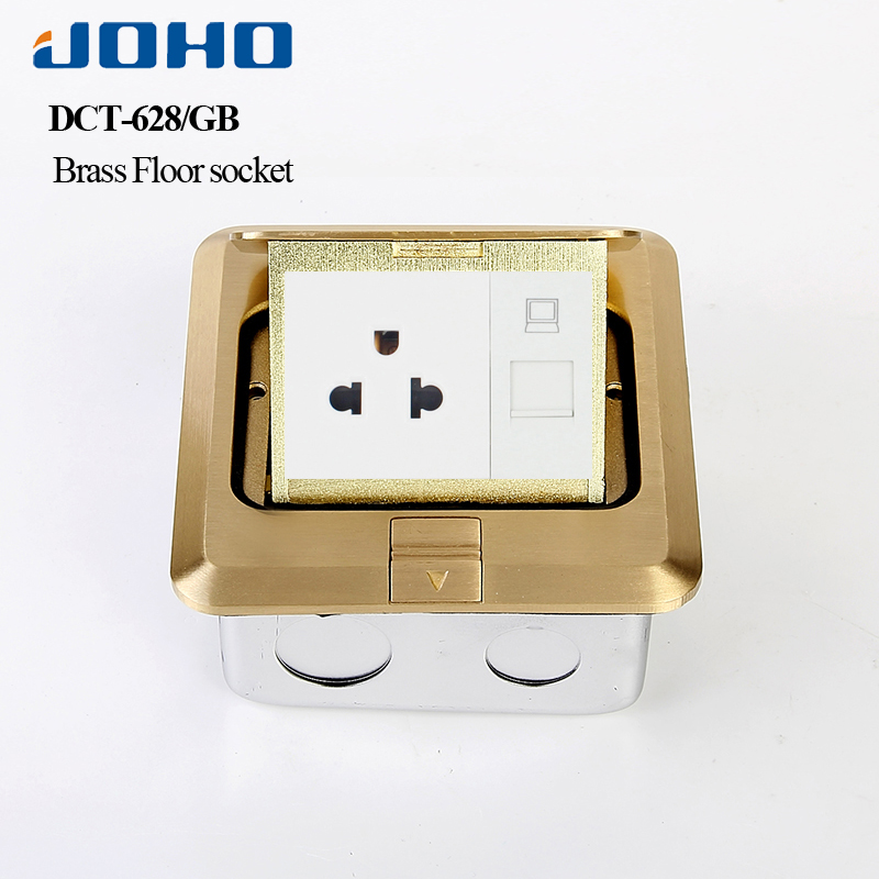 Smart Home EU standard Power Socket Brass Panel floor table computer plug electrical pop socket kitchen rj45 outlet with usb