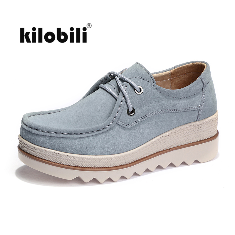 kilobili Spring women casual shoes ladies Lace up thick soled moccasins   leather     suede   platform flats oxfords shoes women Creeper