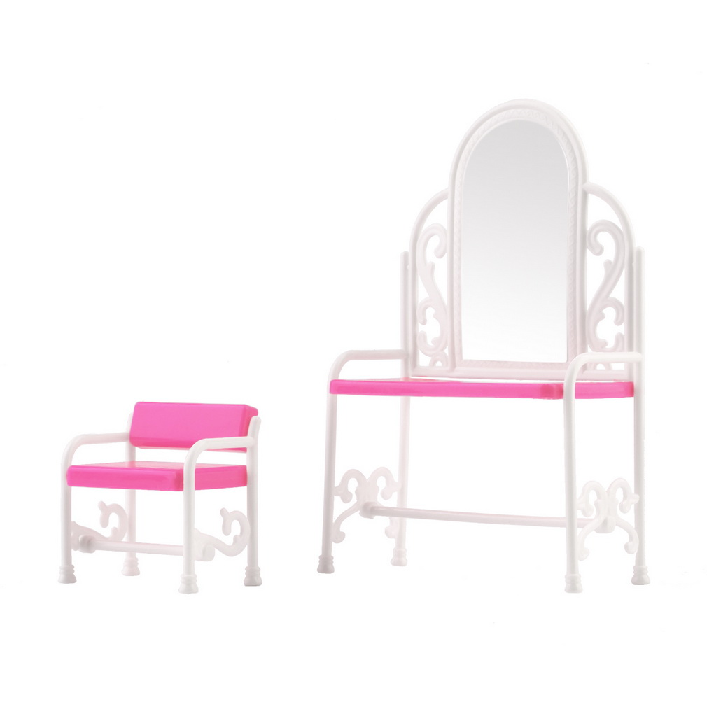 New Dressing Table & Chair Accessories Set For Barbies Dolls Bedroom FurnitureNew Dressing Table & Chair Accessories Set For Barbies Dolls Bedroom Furniture