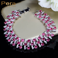 Trendy Ruby Red Jewelry Cubic Zirconia Diamond White Topaz Sterling Silver Overlay Link Chain Large Bracelets
