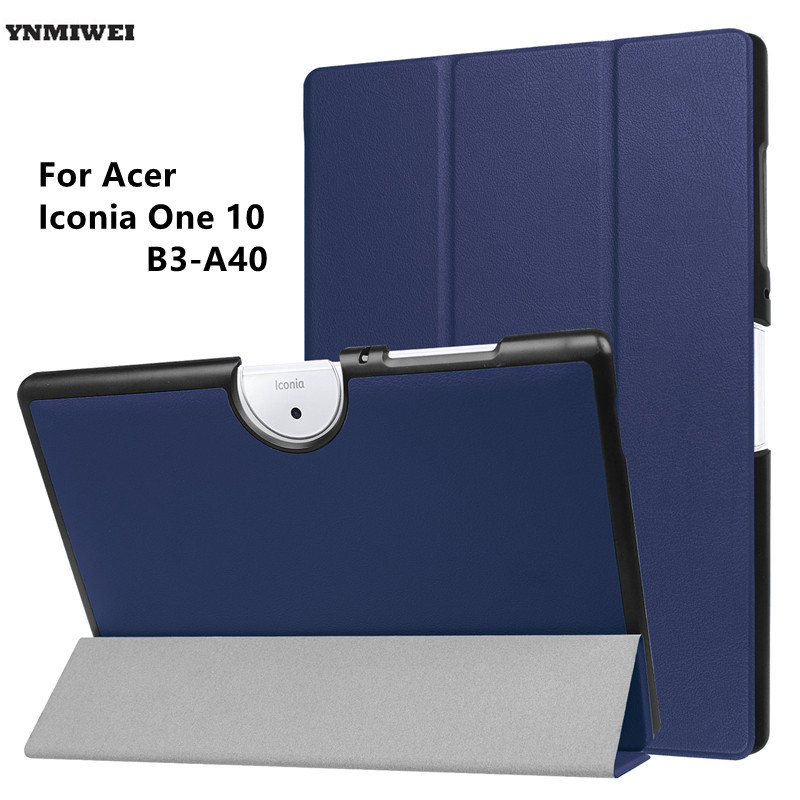 Tablet Case For Acer Iconia One 10 B3-A40 Tri-Fold Slim Stand Case Cover For 10.1 inch Acer Iconia One 10 B3 A40+Protector top quality 2016 2017 pu leather sleeve bag case for acer iconia one b1 830 tablet pc free shipping