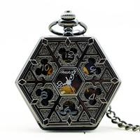 PJX1144 Steampunk Gepersonaliseerde Achthoekige Brons Staal Skeleton Zakhorloge Mannen Lady FOB Horloge