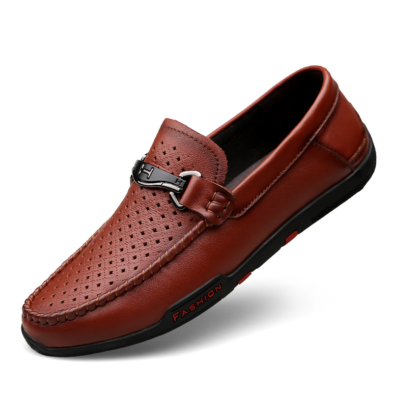 Hollow Out Summer Cool Breathable Genuine Leather Shoes Loafers Flat Male Cow Leather Metal Surface Casual
