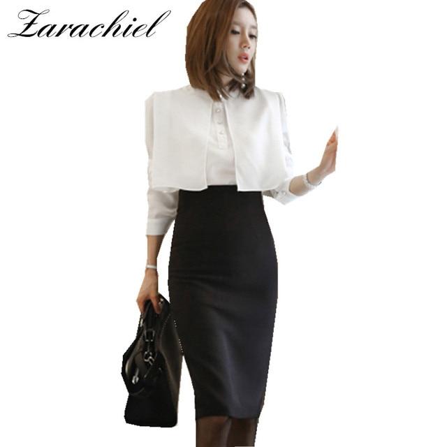 1324879ce1 US $23.99 20% OFF Zarachiel Business 2 Piece Set Women Autumn White Cape  Long Sleeve Pearl Blouse Shirt+Black Split Pencil Bodycon Skirt Suit Set-in  ...